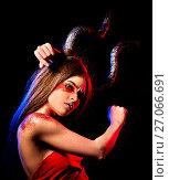 Купить «Black magic ritual mad satan woman in hell on Halloween.», фото № 27066691, снято 23 марта 2017 г. (c) Gennadiy Poznyakov / Фотобанк Лори