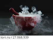 Купить «Dry ice smoke in bowl on black background», фото № 27068939, снято 5 июня 2017 г. (c) Wavebreak Media / Фотобанк Лори