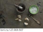 Купить «Black pepper in mortar and pestle with bowl of salt and garlic», фото № 27069507, снято 5 июня 2017 г. (c) Wavebreak Media / Фотобанк Лори