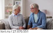 Купить «senior couple having argument at home», видеоролик № 27070551, снято 20 сентября 2017 г. (c) Syda Productions / Фотобанк Лори
