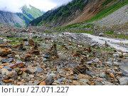 Купить «River near Chalaadi glacier in Caucasus mountains», фото № 27071227, снято 27 марта 2019 г. (c) Mikhail Starodubov / Фотобанк Лори