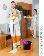 Купить «Cleaning premises team to work», фото № 27074063, снято 18 июня 2019 г. (c) Яков Филимонов / Фотобанк Лори