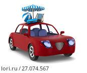 Купить «Red car on white background. Isolated 3D illustration», иллюстрация № 27074567 (c) Ильин Сергей / Фотобанк Лори