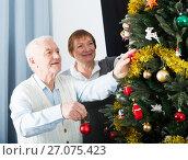 Elderly couple decorate firtree. Стоковое фото, фотограф Яков Филимонов / Фотобанк Лори