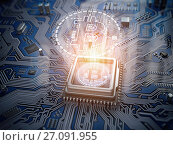 Купить «Bitcoin hologram over CPU core and computer circuit board or motherboard. Cryptocurrency mining concept.», фото № 27091955, снято 15 августа 2018 г. (c) Maksym Yemelyanov / Фотобанк Лори