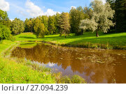 Купить «Autumn landscape. Autumn trees at the bank of the river in sunny autumn day», фото № 27094239, снято 21 сентября 2017 г. (c) Зезелина Марина / Фотобанк Лори