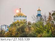 Купол и колокольня храма во имя Собора Московских святых в Бибирево (2017 год). Стоковое фото, фотограф Алёшина Оксана / Фотобанк Лори
