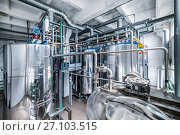 Купить «Steel chrome cisterns. Yeast mixture preparation system.», фото № 27103515, снято 6 июля 2017 г. (c) Андрей Радченко / Фотобанк Лори