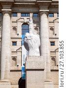 Купить «MILAN, ITALY - JUL 19 2017: The sculpture L.O.V.E. by Maurizio Cattelan in front of stock exchange building in Piazza Affari, Milan», фото № 27103855, снято 19 июля 2017 г. (c) Юлия Кузнецова / Фотобанк Лори