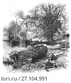 Купить «1870: Fishermen near the Countess Weir on the River Exe, named after the Countess of Devon, who had it built in 1284 to prevent ships travelling upriver. Near Exeter, Devon, England.», фото № 27104991, снято 21 сентября 2017 г. (c) age Fotostock / Фотобанк Лори