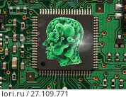 Купить «Cog head  in center of microchip», фото № 27109771, снято 26 мая 2019 г. (c) Wavebreak Media / Фотобанк Лори