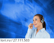 Купить «Customer care service woman with blue background», фото № 27111503, снято 14 ноября 2019 г. (c) Wavebreak Media / Фотобанк Лори