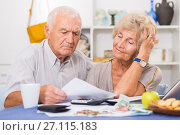 Купить «Upset retired couple calculating domestic finances», фото № 27115183, снято 28 августа 2017 г. (c) Яков Филимонов / Фотобанк Лори