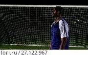 Купить «Soccer player controlling ball on his chest 4k», видеоролик № 27122967, снято 16 июля 2019 г. (c) Wavebreak Media / Фотобанк Лори