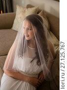 Купить «High angle view of beautiful bride in wedding dress sitting on sofa», фото № 27125767, снято 2 мая 2017 г. (c) Wavebreak Media / Фотобанк Лори