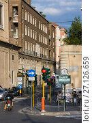Rome, Italy - March 23, 2015: Traffic on street Via de Ripetta in Rome, Italy. Редакционное фото, фотограф Papoyan Irina / Фотобанк Лори