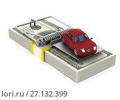 Купить «mousetrap and car on white background. Isolated 3D illustration», иллюстрация № 27132399 (c) Ильин Сергей / Фотобанк Лори