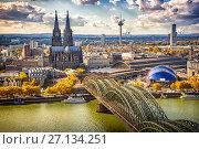 Купить «Aerial view of Cologne», фото № 27134251, снято 24 марта 2019 г. (c) Sergey Borisov / Фотобанк Лори