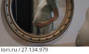Купить «Pregnant woman looking at mirror and stroking belly», видеоролик № 27134979, снято 21 апреля 2019 г. (c) Данил Руденко / Фотобанк Лори