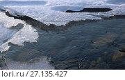 Купить «Video of closeup mooving along tracery edge of an ice floe on Altai river Katun in Spring season», видеоролик № 27135427, снято 20 марта 2017 г. (c) Serg Zastavkin / Фотобанк Лори