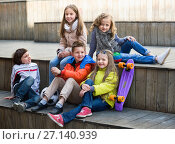 Купить «Group of children portrait with ball and skateboard», фото № 27140939, снято 23 марта 2018 г. (c) Яков Филимонов / Фотобанк Лори