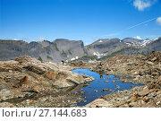 Купить «Col de la Terrasse, Swiss - French border in Alps», фото № 27144683, снято 5 июля 2017 г. (c) Юлия Кузнецова / Фотобанк Лори