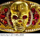 Купить «Gold jewellery with skull archaeological artifact from hoard pirate in museum.», фото № 27145359, снято 19 августа 2018 г. (c) Gennadiy Poznyakov / Фотобанк Лори