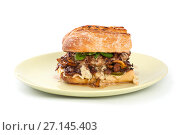 Купить «A square burger with mushrooms chanterelles in a rustic style on a clean white background.», фото № 27145403, снято 15 сентября 2017 г. (c) Olesya Tseytlin / Фотобанк Лори