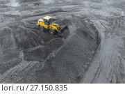 Купить «Open pit mine, breed sorting. Mining coal. Bulldozer sorts coal. Extractive industry, anthracite. Coal industry.», фото № 27150835, снято 8 сентября 2017 г. (c) Сергей Тимофеев / Фотобанк Лори