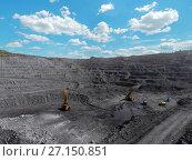 Купить «Open pit mine, breed sorting, mining coal, extractive industry anthracite, Coal industry», фото № 27150851, снято 29 августа 2017 г. (c) Сергей Тимофеев / Фотобанк Лори