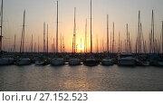Купить «Яхты на закате», видеоролик № 27152523, снято 23 октября 2017 г. (c) Наталья Волкова / Фотобанк Лори