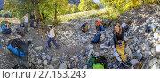 Купить «Привал туристов при походе», эксклюзивное фото № 27153243, снято 8 октября 2017 г. (c) Николай Сивенков / Фотобанк Лори