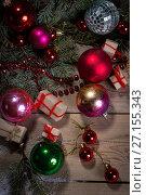 Купить «Christmas background on wooden», фото № 27155343, снято 28 октября 2016 г. (c) Типляшина Евгения / Фотобанк Лори