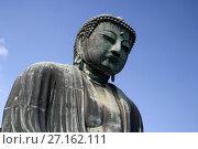 Купить «Бронзовая статуя большого Будды (Дайбутсу) в японском городе Камакура на фоне голубого неба», фото № 27162111, снято 26 августа 2006 г. (c) Александр Гаценко / Фотобанк Лори