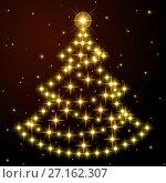 Купить «Новогодняя ель из ярких золотых звезд на черном с красноватым оттенком фоне. Новогоднее настроение. Фоновая иллюстрация.», иллюстрация № 27162307 (c) Анастасия Некрасова / Фотобанк Лори