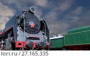 Купить «Ancient steam locomotive, Moscow museum of railway in Russia, Rizhsky railway station (Rizhsky vokzal, Riga station)», видеоролик № 27165335, снято 24 октября 2017 г. (c) Владимир Журавлев / Фотобанк Лори