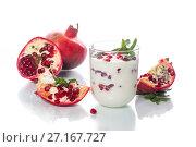 Купить «sweet homemade yogurt with pomegranate», фото № 27167727, снято 2 ноября 2017 г. (c) Peredniankina / Фотобанк Лори