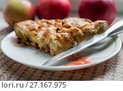 Купить «Кусочек пирога с яблоками и ножик на фоне спелых яблок», эксклюзивное фото № 27167975, снято 9 октября 2017 г. (c) Игорь Низов / Фотобанк Лори