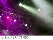 Купить «Stage lights. Soffits. Concert light», фото № 27171095, снято 29 сентября 2017 г. (c) Евгений Ткачёв / Фотобанк Лори