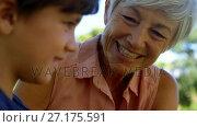 Купить «Grandmother talking to grandson in park 4k», видеоролик № 27175591, снято 9 апреля 2020 г. (c) Wavebreak Media / Фотобанк Лори