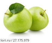 Green apples with leaf isolated on white. Стоковое фото, фотограф Роман Самохин / Фотобанк Лори
