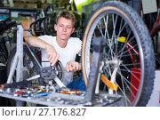Купить «attentive professional man repairing bicycles in the workshop», фото № 27176827, снято 17 июля 2017 г. (c) Яков Филимонов / Фотобанк Лори