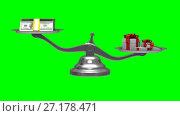 Купить «Gift box and cash on scale. Isolated 3D render. Green background», видеоролик № 27178471, снято 6 ноября 2017 г. (c) Ильин Сергей / Фотобанк Лори