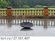 Купить «Sketch with black umbrella and rain, Cairnwood Estate, Bryn Athyn Historic District, Pennsylvania, USA.», фото № 27181407, снято 13 сентября 2017 г. (c) age Fotostock / Фотобанк Лори