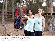 Купить «Fit women standing together in parkland», фото № 27182175, снято 9 мая 2017 г. (c) Wavebreak Media / Фотобанк Лори
