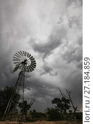 Купить «Windmill under a gathering thunderstorm in the Kalahari Desert, South Africa. These traditional windmills are still used to raise groundwater for use in the home and to fill animal troughs. May 2011», фото № 27184859, снято 14 декабря 2017 г. (c) Nature Picture Library / Фотобанк Лори