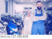 Купить «A large selection of motorcycles and scooters», фото № 27185839, снято 21 сентября 2019 г. (c) Яков Филимонов / Фотобанк Лори