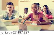 Купить «Pupils at the lesson in the school», фото № 27187827, снято 9 апреля 2020 г. (c) Яков Филимонов / Фотобанк Лори