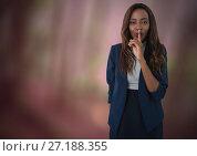 Купить «Businesswoman hushing quietness with finger in nature», фото № 27188355, снято 25 апреля 2019 г. (c) Wavebreak Media / Фотобанк Лори