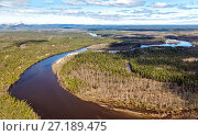Купить «Северный Урал. Вид с воздуха на реку и болота», фото № 27189475, снято 16 июня 2017 г. (c) Евгений Ткачёв / Фотобанк Лори